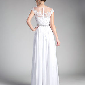 White A-Line Bridesmaid Long Dress